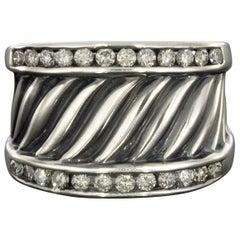 David Yurman Sterling Silver Diamond Thoroughbred Cigar Band Ring