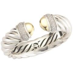 David Yurman Sterling Silver, Gold and Diamond Waverly Cable Bracelet