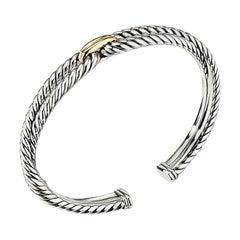 David Yurman Sterling Silver & Gold Cable Loop Bracelet B14038 S8
