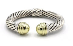 David Yurman Sterling Silver Hinged Cable Classics Bracelet with Gold Domes