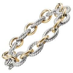 David Yurman Sterling Silver Large Oval Link Bracelet with Gold BC0132 S8