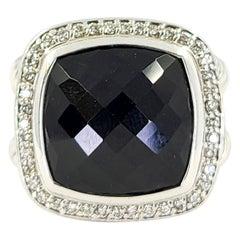David Yurman Sterling Silver, Onyx, & Diamond Albion Ring
