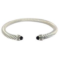 David Yurman Sterling Silver, Onyx, & Diamond Cuff Bracelet