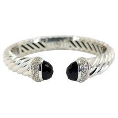 David Yurman Sterling Silver, Onyx, & Diamond Hinged Cuff Bracelet