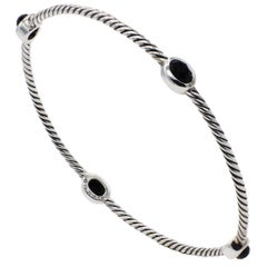 David Yurman Sterling Silver & Onyx Station Cable Bangle Bracelet