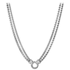 David Yurman Sterling Silver Pave Diamond Double Wheat Chain Necklace