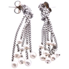 David Yurman Sterling Silver Pearl Drop Earrings