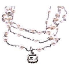 David Yurman Sterling Silver Pearl Multi-Strand Necklace