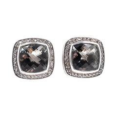 David Yurman Sterling Silver Peridot and Diamond Albion Earrings
