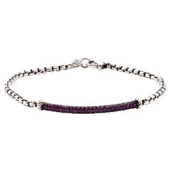 David Yurman Sterling Silver Pink Tourmaline Thin ID Bracelet