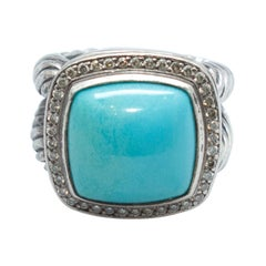 David Yurman Sterling Silver, Turquoise & Diamond Ring