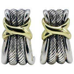 David Yurman Sterling Silver Two-Tone 14 Karat Yellow Gold Cable Earrings