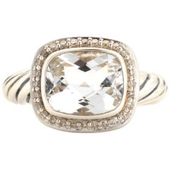 David Yurman Sterling Silver, White Topaz and Diamond Noblesse Ring