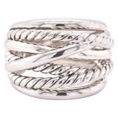 David Yurman Sterling Silver Wide Crossover Ring