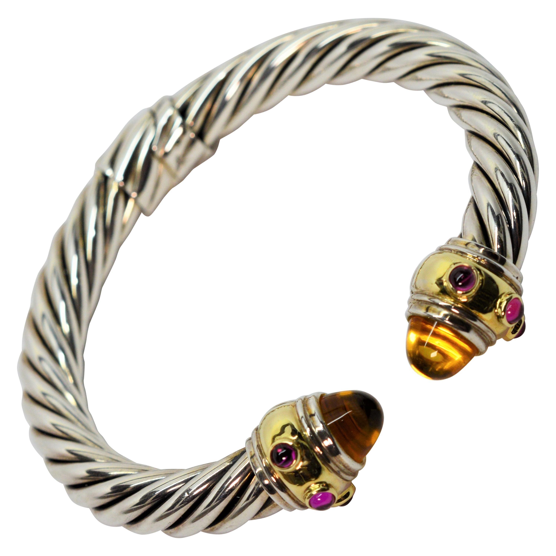 David Yurman Sterling Silver Yellow Gold Renaissance Gemstone Cable Bracelet