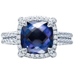 David Yurman Tanzanite Châtelaine Pave Bezel Ring in 18 Karat White Gold