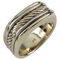 David Yurman Thoroughbred 18 Karat Multi-Color Gold Cigar Ring