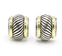 David Yurman Thoroughbred Cigar Cable Earrings Sterling Silver & 14 Karat Gold