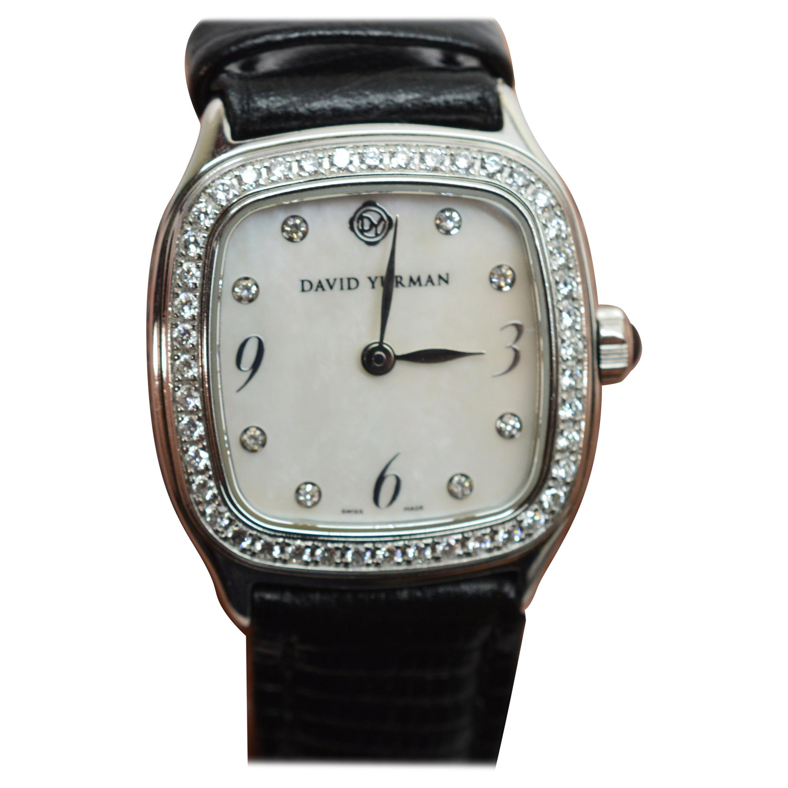 David Yurman Thoroughbred Collection Ladies Stainless Steel Diamond Wrist Watch