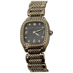 David Yurman Thoroughbred Stainless Steel Quartz and Diamond Bezel MOP Face