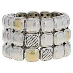 David Yurman Three-Row Chiclet Bracelet Sterling Silver and 18 Karat Gold Link