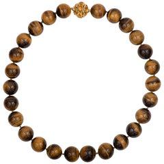 David Yurman Tiger's Eye Bead Necklace with Citrine