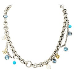 David Yurman Topaz Pearl Turquoise 18 Karat Yellow Gold Sterling Silver Necklace