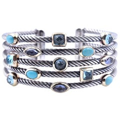 David Yurman Turquoise, Blue Topaz and Iolite Two-Tone 5 Cable Cuff Bracelet