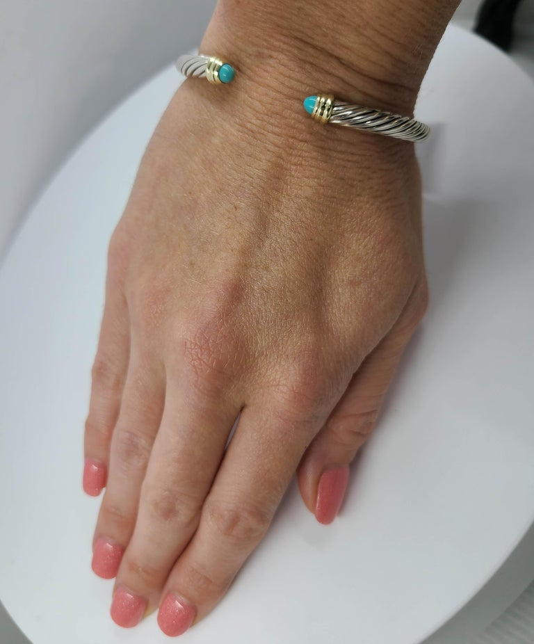 David Yurman Turquoise Cable Cuff In Good Condition In Coral Gables, FL