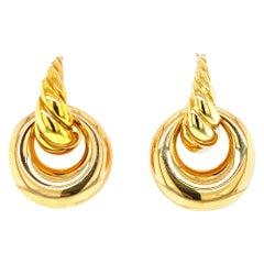 David Yurman Twisted Hoop Drop 18 Karat Yellow Gold Earrings
