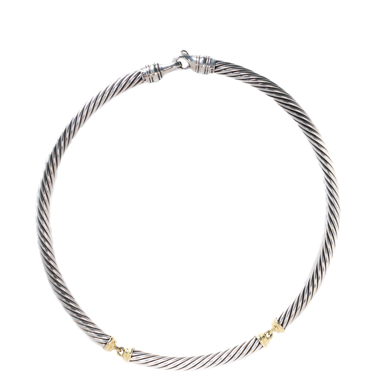 75f7242dc6000 David Yurman Two-Tone Cable Choker Necklace