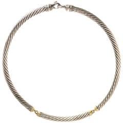 David Yurman Two-Tone Cable Choker Necklace