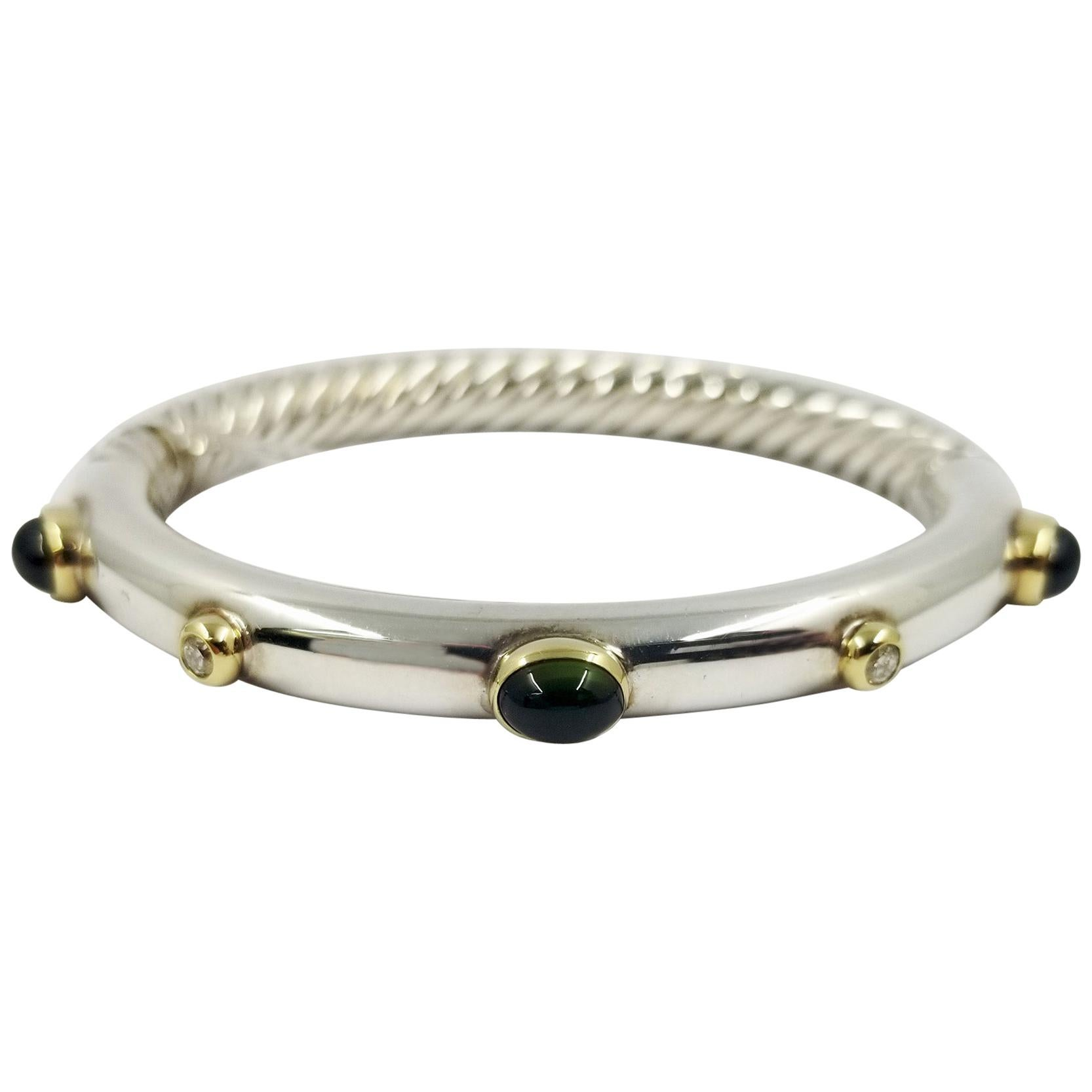 David Yurman Two-Tone Green Tourmaline Cable Bangle Bracelet