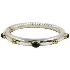 David Yurman Two-Tone Green Tourmaline Cable Bangle Bracelet