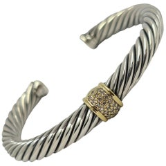 David Yurman Two-Tone Reverse Diamond Cuff Bracelet