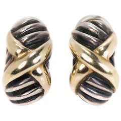 David Yurman Two-Tone Sterling Silver, 14k Yellow Gold Cable Clip On Earrings