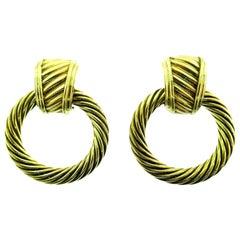 David Yurman Vintage 14 Karat Yellow Gold Day-and-Night Hoop Earrings