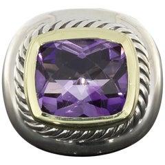 David Yurman Vintage Albion Gold and Silver Cushion Cut Amethyst Ring