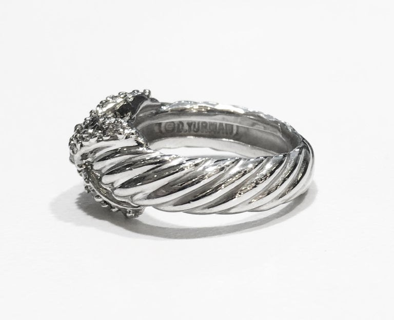 DAVID YURMAN VINTAGE CROSSOVER X RING WITH DIAMONDS   -Condition: Mint -Ring size: 4 -Sterling silver, Diamonds -Ornament dimension: 9x12mm  *Includes David Yurman box.