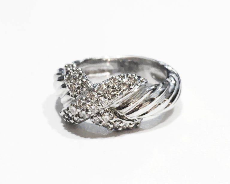 Round Cut David Yurman Vintage Crossover X Ring with Diamonds For Sale