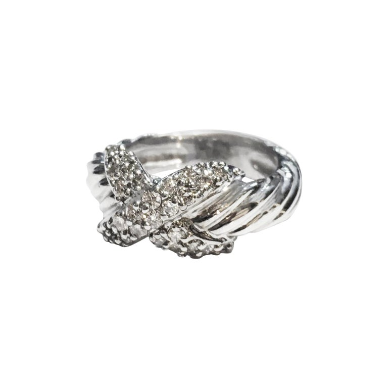 David Yurman Vintage Crossover X Ring with Diamonds For Sale