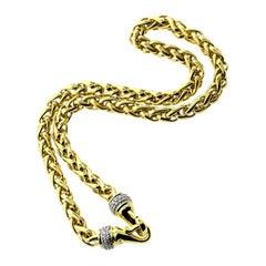 David Yurman Wheat 18 Karat Yellow Gold Chain with Diamonds