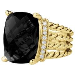 David Yurman Wheaton Ring with Black Onyx and Diamonds in 18 Karat Gold