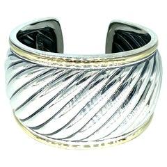 David Yurman Wide Two-Tone Sterling Silver & 18k Gold Cuff Cable Bangle