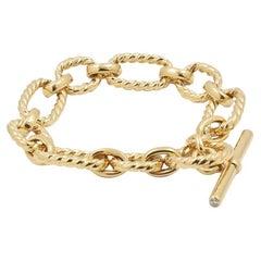 David Yurman Yellow Gold and Diamond Cushion Link Bracelet