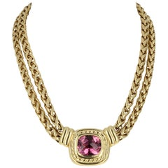 David Yurman Yellow Gold and Pink Tourmaline Double Chain Necklace