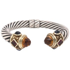 David Yurman Yellow Gold and Sterling Silver Multicolored Stone Cable Bracelet