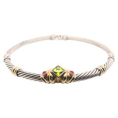 David Yurman Yellow Gold and Sterling Silver Multicolored Stone Cable Necklace