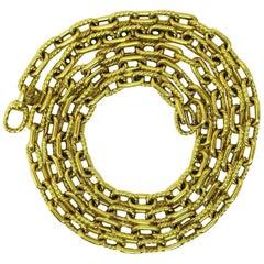 David Yurman Yellow Gold Oval Link Long Chain Necklace