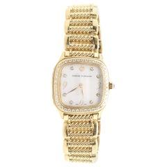 David Yurman Yellow Gold Thoroughbred Watch with Diamond Bezel